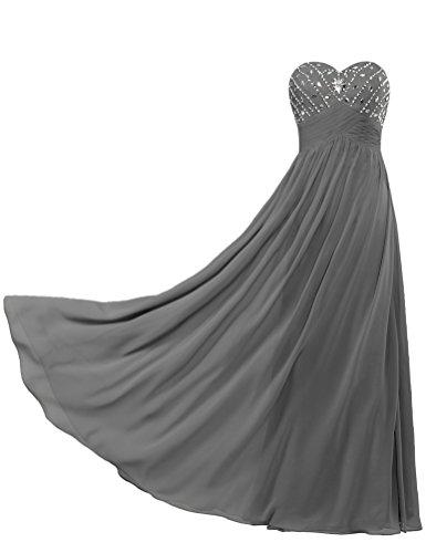 Fourmis Perle En Mousseline De Soie Sans Bretelles Robe De Femmes Fête Robes De Bal Gris Longue