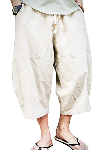 Qin.Orianna Men's Summer Loose Baggy Linen Harem Capri Pants with Pockets (36-39