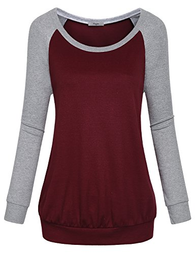 Cestyle Casual Sweaters for Women, Fall Long Sleeve Round Neck Splice Shirts Sports Loose Fit Cotton Knitted Cute Tunic Sweatshirts Loft Clothing Wine X-Large by Cestyle (Image #3)