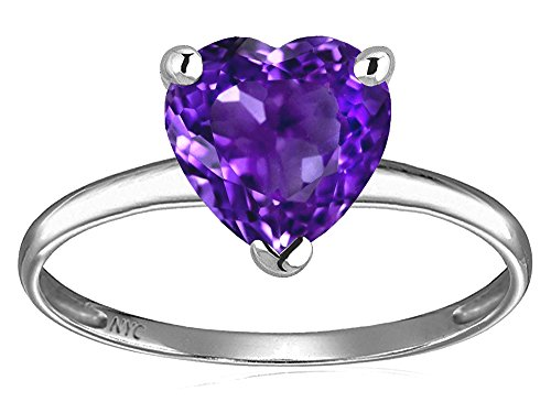 Star K Genuine Amethyst Heart Shape 8mm Solitaire Engagement Ring 10 kt White Gold Size 9 Amethyst Heart Shape Solitaire