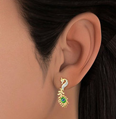 18K Or jaune 0,15CT TW White-diamond (IJ | SI) Boucles d'oreille à tige