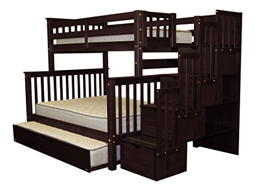 Bedz King Stairway Bunk Bed Twin Over Full With 4 Drawers