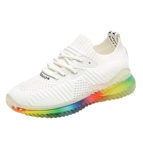 Hurrybuy Women Trend Rainbow Jelly Soles Sneakers Outdoor Woven Breathable Casual Shoes ()