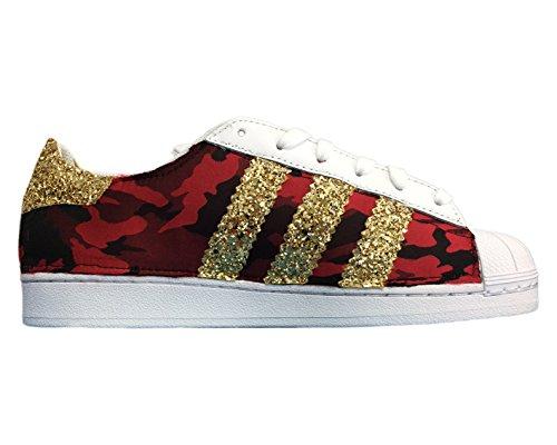 Superstar bianche con tessuto camouflage rosso/nero e glitter oro Bianco