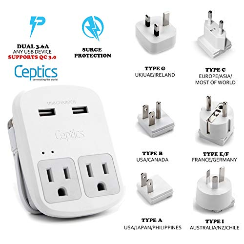 World Travel Adapter Kit by Ceptics - QC 3.0 2 USB + 2 US Outlets, Surge Protection, Plugs for Europe, UK, China, Australia, Japan - Perfect for Laptop, Cell Phones, Cameras - Safe ETL Tested (Best Way To Ship From China To Usa)
