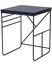 Dagelijkse uitrusting Woonkamer Vierkante tafel Hoektafel Computer bijzettafel Marmer Iron Art Salontafel Zwart + zwart 40 * 40 * 53cm