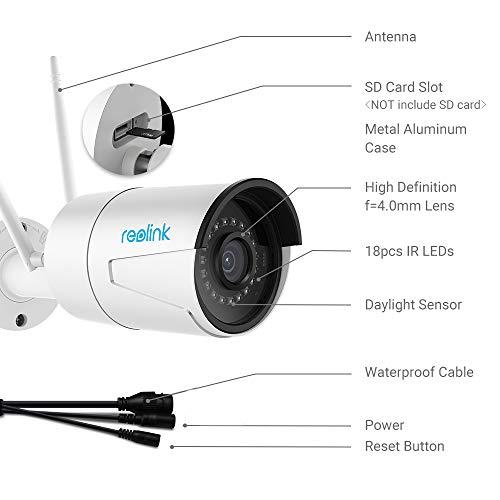 Cámara de Seguridad Reolink 4MP Super HD grabación 2.4G/5G Impermeable Cámara IR con infrarrojo Seguridad con visión noctrna y Ranura para Tarjeta SD (hasta ...