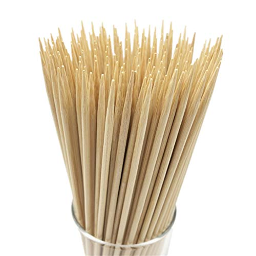 "HOPELF 10"" Natural Bamboo Skewers for BBQ,Appetiser,Fruit,Cocktail,Kabob,Chocolate Fountain,Grilling,Barbecue,Kitchen,Crafting and Party. Φ=4mm, More Size Choices 6""/8""/12""/14""/16""/30""(100 PCS)"