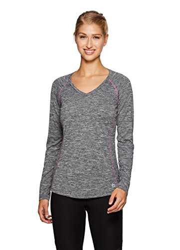 RBX Active Women's Space Dye Long Sleeve V-Neck T-Shirt Black L