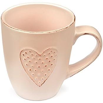 Heart Mug Love by Govinda Crafts, Ceramic Coffee Mug 10oz, Tea Cup, Cute Mugs for Women, Wife, Lover, Girlfriend or Mother (pink)