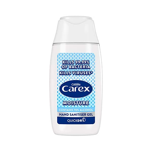 Carex Moisture Anti Bacterial Hand Sanitiser Gel Pack Of 12 With Anti Viral Action Hand Gel With 70 Percent Alcohol That Cleans Cares And Protects 50 Ml