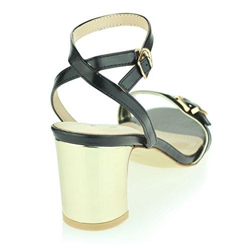 Mujer Señoras Dos Partes Correa De Tobillo Punta Abierta Diamante Tacón Alto Noche Casual Fiesta Boda Prom Sandalias Zapatos Tamaño Negro