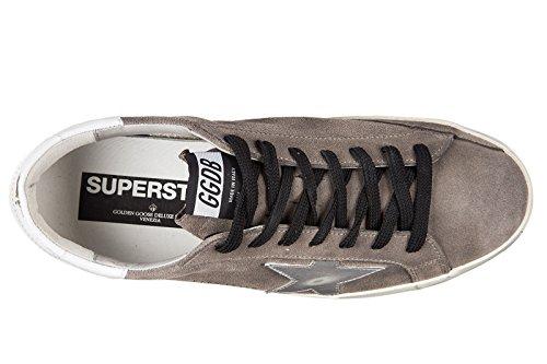 Golden Goose chaussures baskets sneakers homme en daim superstar gris