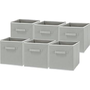 Genial 6 Pack   SimpleHouseware Foldable Cube Storage Bin, Grey