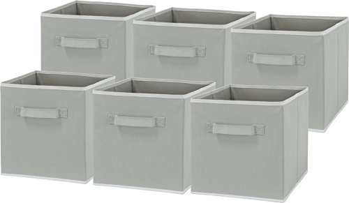 6 Pack – SimpleHouseware Foldable Cube Storage Bin, Grey