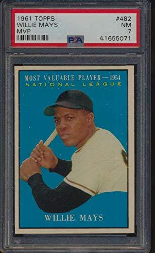 #482 Willie Mays MVP HOF - 1961 Topps Baseball Cards Graded PSA 7 - Baseball Slabbed Autographed Vintage Cards