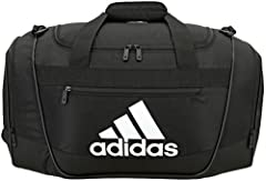 Toss your gear together for a quick session at the gym with the adidas Defender III Duffle Bag. Constructed of reinforced 3D ripstop polyester material, this bag is extra roomy with a large main compartment and 2 zippered side pockets. The pa...