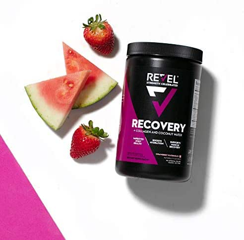 Revel Recovery for Women   BCAA Plus Collagen Powder   Essential Amino Acids and Coconut Water   Nutritional Supplement   Promote Energy Recovery Hydration   30 Servings (Strawberry Watermelon)