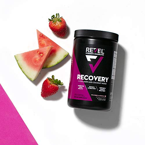 Revel Recovery for Women | BCAA Plus Collagen Powder | Essential Amino Acids and Coconut Water | Nutritional Supplement | Promote Energy Recovery Hydration | 30 Servings (Strawberry Watermelon)