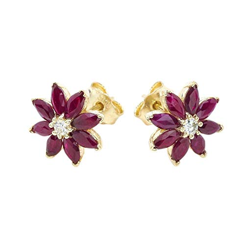 Exotic 14k Yellow Gold Daisy Diamond and Genuine Ruby Flower Stud ()