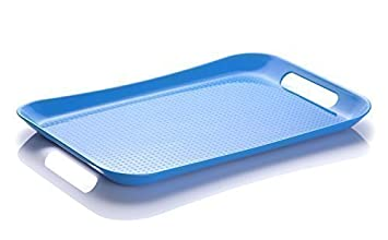 mdesign large plastic serving tray with handles 50x35cm blue