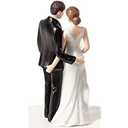 Wedding Collectibles Funny Sexy Tender Touch Wedding Cake Topper with Bride and Groom | Fun, Sexy, Humorous Figurine | Fine Porcelain | 5.25 Inches