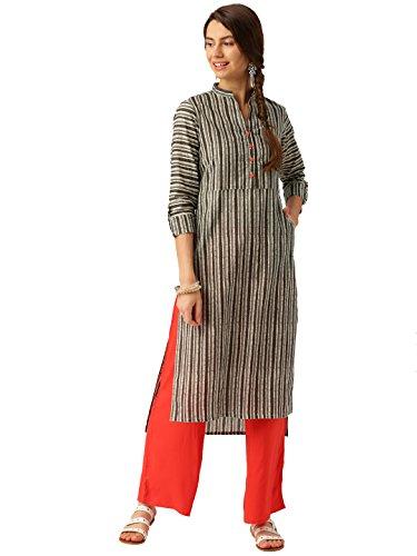 Desi Fusion Women Indian Casual Long Tunic Printed Straight Striped Crepe Kurta & Palazzo (Grey & Off-White) (S) by Desi Fusion