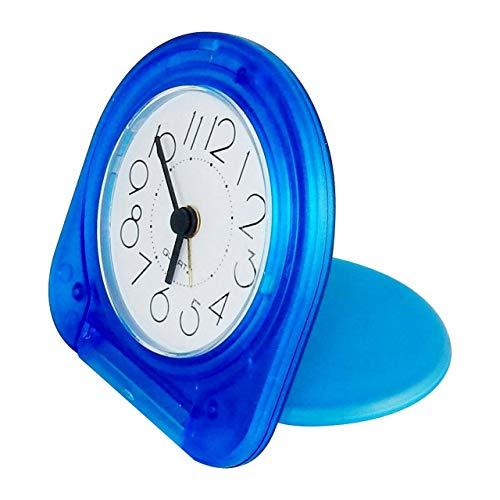 (Galapagoz Pocket Travel Alarm Clock Analog Face, Snooze Button, Translucent Blue )