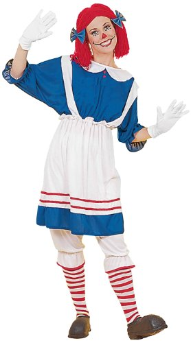 - Women's Rag Doll Girl Costume, Blue/White, One Size