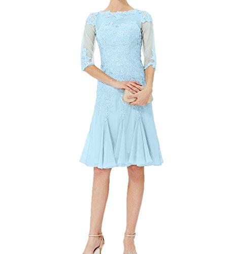 Blau Abendkleider Partykleider Knielang Charmant Langarm mit Damen Chiffon Brautmutterkleider Festlichkleider Hell wtCB4vqCO