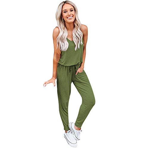 Fheaven Womens Sleeveless One Off Shoulder Keyhole Jumpsuits Solid Elastic Waist Romper Playsuits with Pockets (L, Army Green)