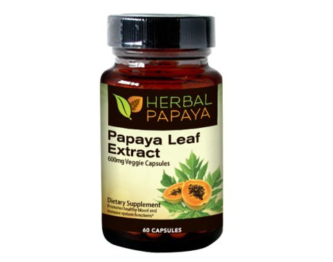 Papaya Leaf Extract 600mg, (10:1 Extract Strength) - 60 Veggie Capsules by Herbal Papaya by Herbal Papaya