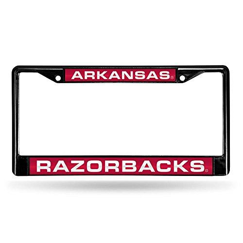 Rico NCAA Arkansas Razorbacks Laser Cut Inlaid Standard Chrome License Plate Frame, 6