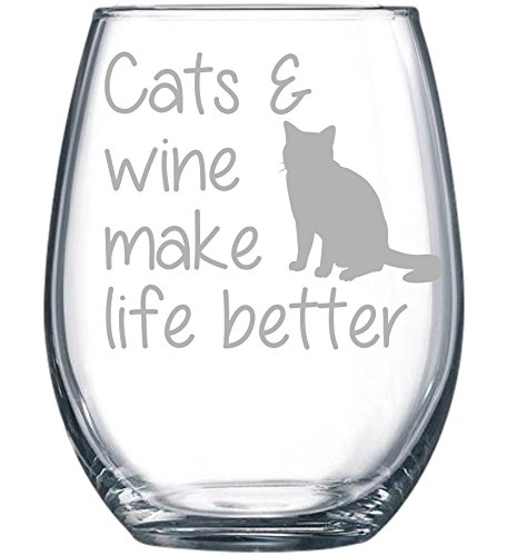 Cats & wine make life better stemless glass