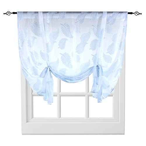 KEQIAOSUOCAI Sheer Tie Up Curtains for Kitchen Windows Leaves Jacquard Rod Pocket Balloon Shades for Small Window Light Blue 1 Panel Tie Up Shades 52 inches Wide by 63 inches Long (Blue Lights Kitchen)