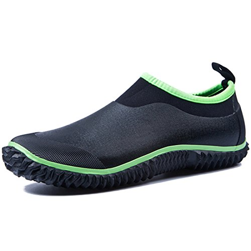 Garden Shoes Rubber Waterproof Shoes with Premium Insole Rain and Garden Clog Short Rain Boots (10 (27cm), Green)