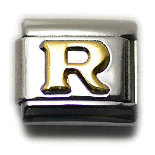 (Dolceoro Initial R Letter Alphabet, 9mm Type Italian Modular Charm Bracelet Link - Stainless Steel)