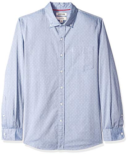 Goodthreads Men's Slim-Fit Long-Sleeve Dobby Shirt, -blue/multi diamond, Large