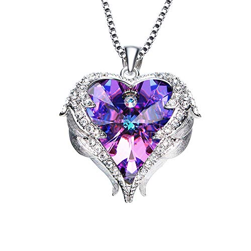 NEWNOVE Heart of Ocean Pendant Necklaces for Women Made with Swarovski Crystals (A_Purple and Blue1) ()