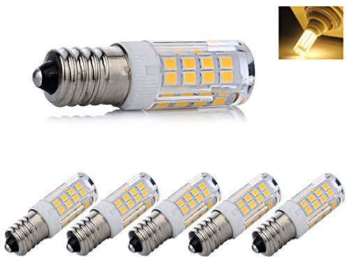 - E14 led Light Bulb dimmable, e14 European Screw Base LED Light Bulbs 40 Watt Incandescent Bulb Equivalent, T3/T4 European Base Replacement Omni-Directional,Warm White 3000k(5-Pack)