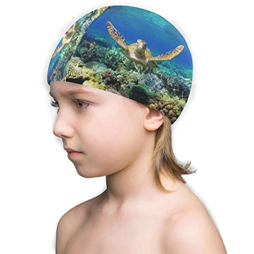 Free-3 Kids Waterproof Swim Caps for Girls and Boys, with Beach Summer Sea Turtles Print Swimming Cap Bathing Cap White ()