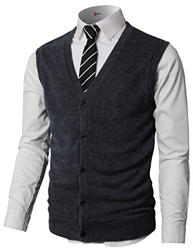 H2H Mens Business V-Neck Assorted Color Knit Cardigan Sweater Vest Navy US L/Asia XL (CMOV046) by H2H