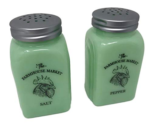 - The Farmhouse Market Jadeite Glass Salt and Pepper Set Reproduction Vintage Style Roman Arch Jadite (Chicken Rooster Design)