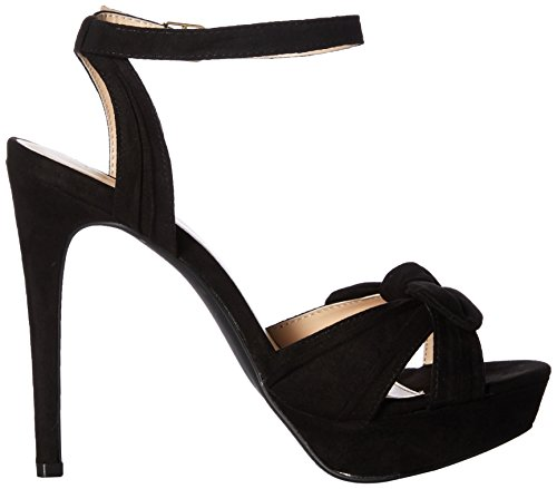 Qupid Women's Platform Heeled Sandal Black 0TwRufNIB