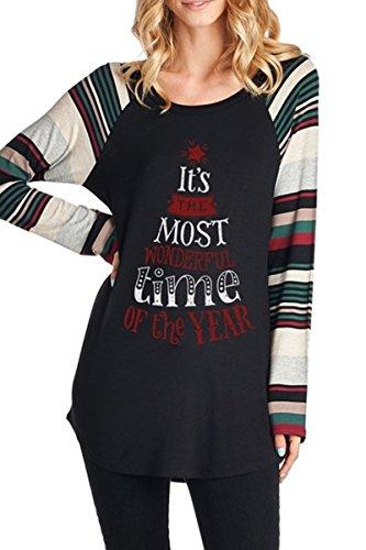 Haloon Woman's Christmas Printed Stripe Graphic Long Sleeve Tunic Tops Black M