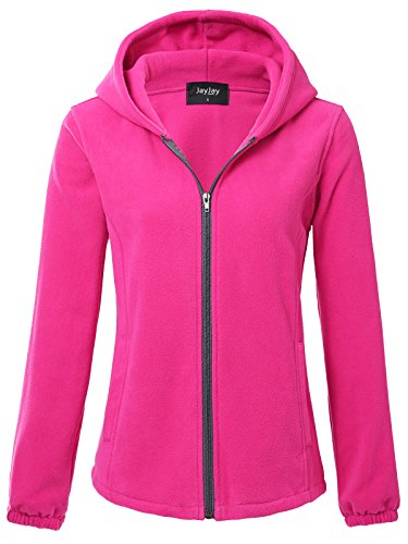 Athletic Hooded Jacket (JayJay Women Ultra Soft Fleece Long Sleeve Hoodie Jacket,Fuchsia,M)