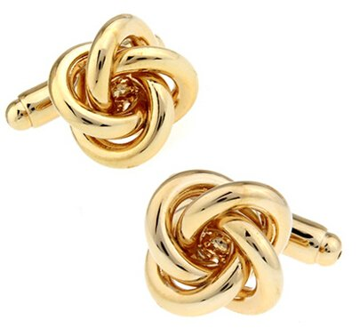 - Yfiowct Metal Knot Cufflinks Gold Color Knot Design Copper Material Cufflinks 7