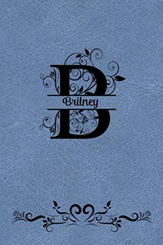 (Split Letter Personalized Journal - Britney: Elegant Flourish Capital Letter on Teal Leather Look Background)