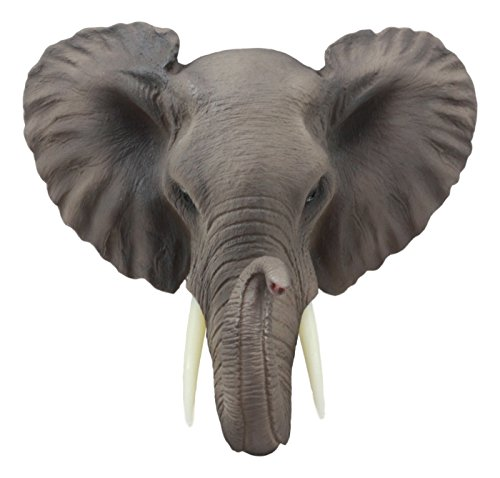 Ebros Safari African Bush Elephant Wall Bust Sculpture 9''Tall Majestic Noble Elephant Head Hanging Wall Decor Figurine For Wild Animal Lovers by Ebros Gift