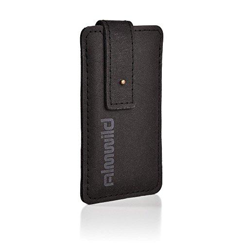 """ALMWILD® Hülle Case iPhone 8, 7, 6s, 6 aus Vega-""""Leder"""" mit Verschluß in Schwarz / Grau. Perfekter Schutz, EINS mit der Natur! Handyhülle aus bayerische Manufaktur"""